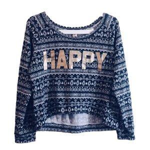 """HAPPY"" Graphic Nordic Sweater Grey/Gold - Medium"